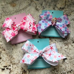Set of 3 Summer Hair Bows 5 in on Alligator Clips